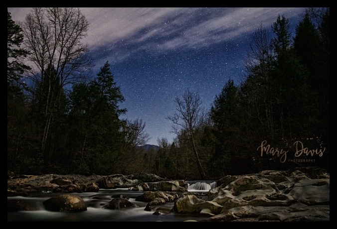 stars, night, water, river, long exposure, great smoky mountains